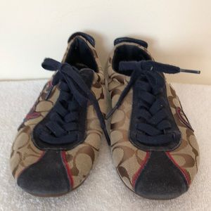 Coach size 6 1/2 canvas and leather athletic shoes